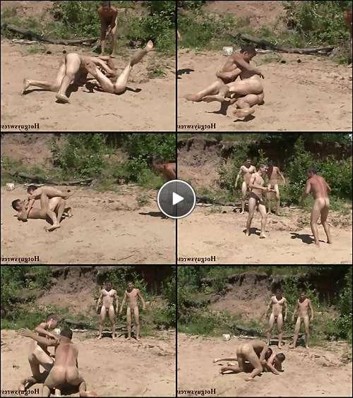 straight men wrestling naked video